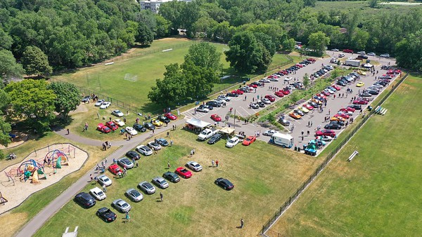 The annual Porsche parade at Roseville Central Park Minnesota.