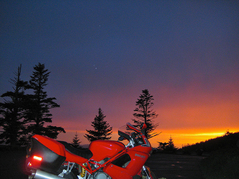 Ducati at sunset Clingmans Dome Great Smoky Mountains National Park.
