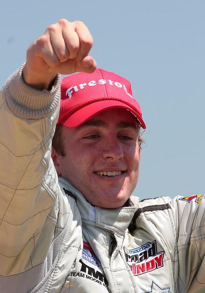 Indy Lights Victor Garcia Celebrates Win at Barber