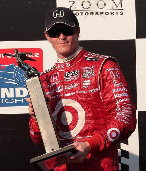 2nd Place Scott Dixon with Trophy on Podium Barber Motorsports Park