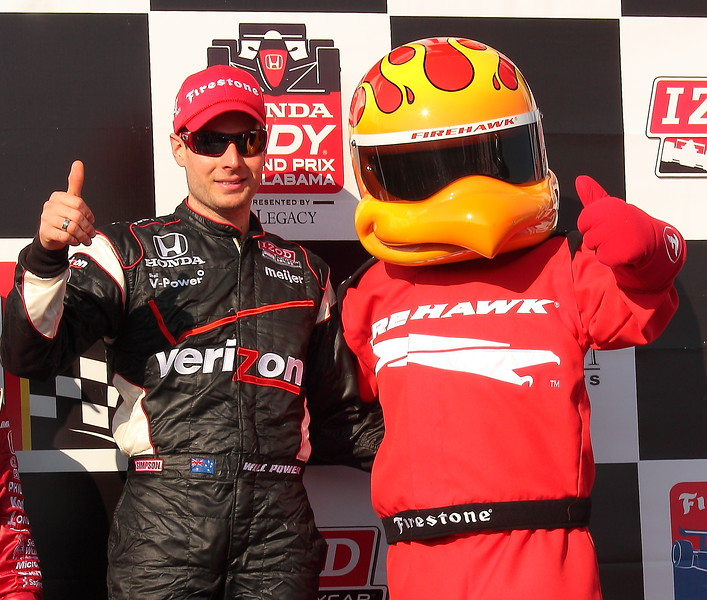 Thumbs up Will Power and the Firehawk Victory Lane Barber