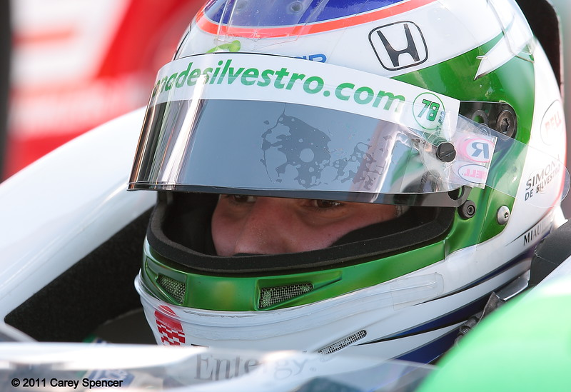 Simona in cockpit of her No. 78 Nuclear Clean Air Energy HVM Racing Indycar ay start of Honda Grand Prix of Alabama
