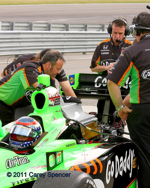 Danica Patrick and the GoDaddy Team during practice at the Honda Indy Grand of Alabama