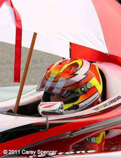 Victor Carbone Nevoni Sam Schmidt Motorsports Firestone Indy Lights driver waits out rain at Barber Motorsports Park
