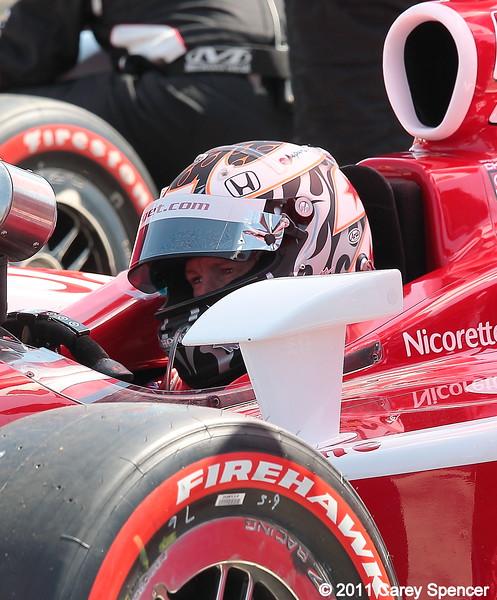 Scott Dixon in cockpit of his No. 9 Target Chip Ganassi IndyCar at start of Honda Grand Prix of Alabama