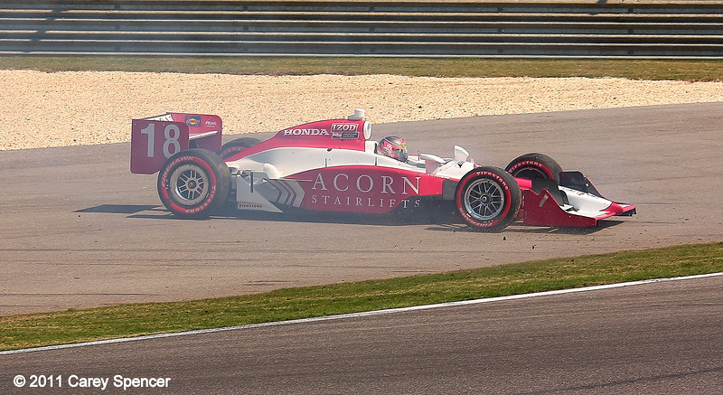 James Jakes spins out in his No. 18 Dale Coyne Racing IndyCar at start of Honda Grand Prix of Alabama