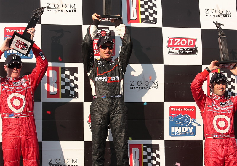Power Dixon and Franchitti Raise Trophies after Honda Indy Grand Prix of Alabama