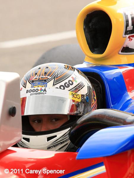 Izod IndyCar driver Sebastian Saavedra practice at Barber Motorsports Park