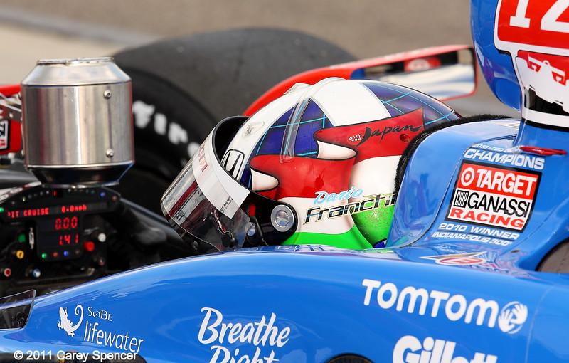 Dario Franchitti practice for the Honda Grand Prix of Alabama
