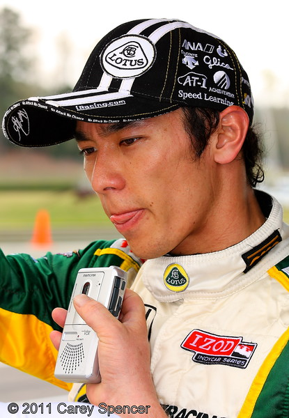 Takuma Sato post practice Barber