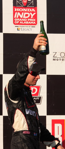 Will Power Champagne Raised in Victory Barber Motorsports Park Honda Indy Grand Prix of Alabama