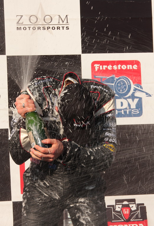Will Power Champagne Celebration Barber Motorsports Park