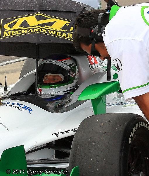 Simona de Silvestro and her HVM Racing Team Wait on Rain Delay During Practice at Barber MotorSports Park