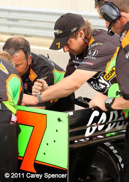 GoDaddy Izod IndyCar Team during practice at Barber Motorsports Park