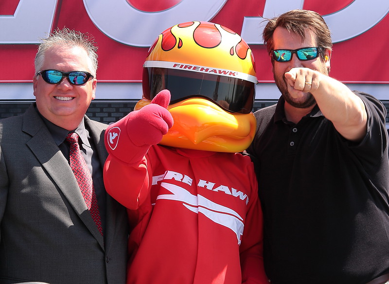 Rick Burgess and Bill Bubba Bussey with the Firehawk prior to the Honda Indy Grand Prix of Alabama