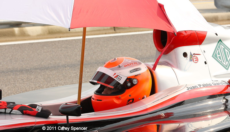 Firestone Indy Lights Juan Pablo Garcia waits out the rain during practice at Barber Motorsports Park