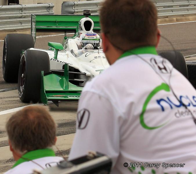Simona de Silvestro Entering Pit with her No. 78 HVM Indy Car at Barber Motorsports Park