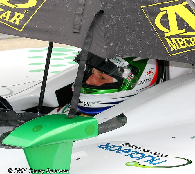 Simona de Silvestro Under the Umbrella During Practice Rain Delay Honda Indy Grand Prix of Alabama