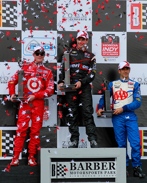 IndyCar Podium Honda Indy Grand Prix of Alabama Power Dixon and Castroneves