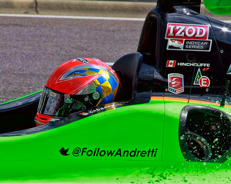 Andretti Autosport IndyCar driver James Hinchcliffe leaves pit after refuel