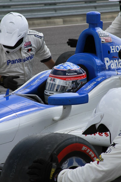 Takuma Sato Gets Change of Tires and Fuel in Pit at Barber