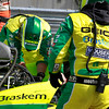 Tony Kanaan GEICO Mouser Team replace damper spring assembly on No. 11 IndyCar