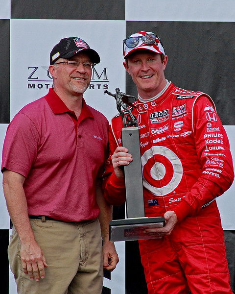 Scott Dixon celebrates a 2nd place finish in the Honda Indy Grand Prix of Alabama at Barber Motorsports Park