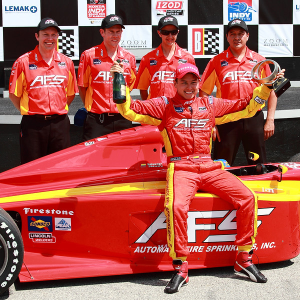 Firestone Indy Lights Sebastain Saavedra and AFS Team 2012 Barber Victory Lane