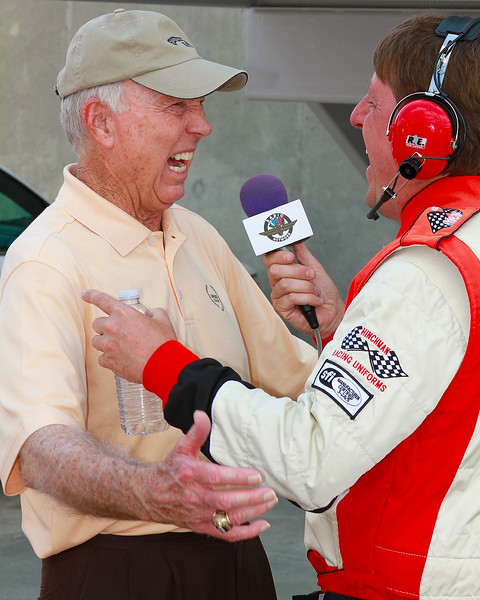 Football Legend Bart Starr and IndyCar Announcer Michael Young hoot it up talking football and car racing at Barber Motorsports Park