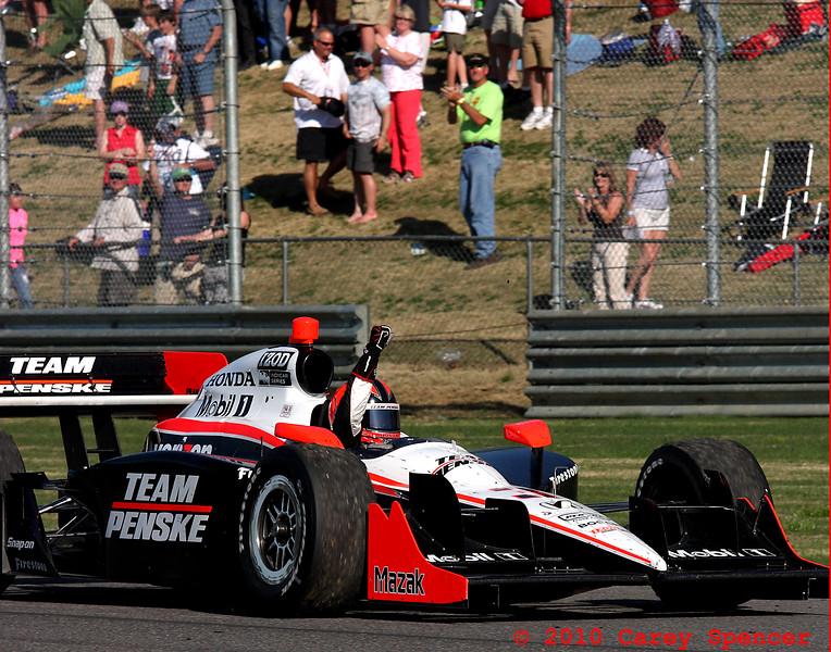 Indy Grand Prix of Alabama Winner Castroneves pumps fist after win at Barber Motorsports Park