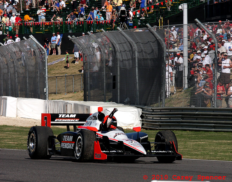 Helio Castroneves signals to fans after Indy win at Barber Motorsports Park Alabama