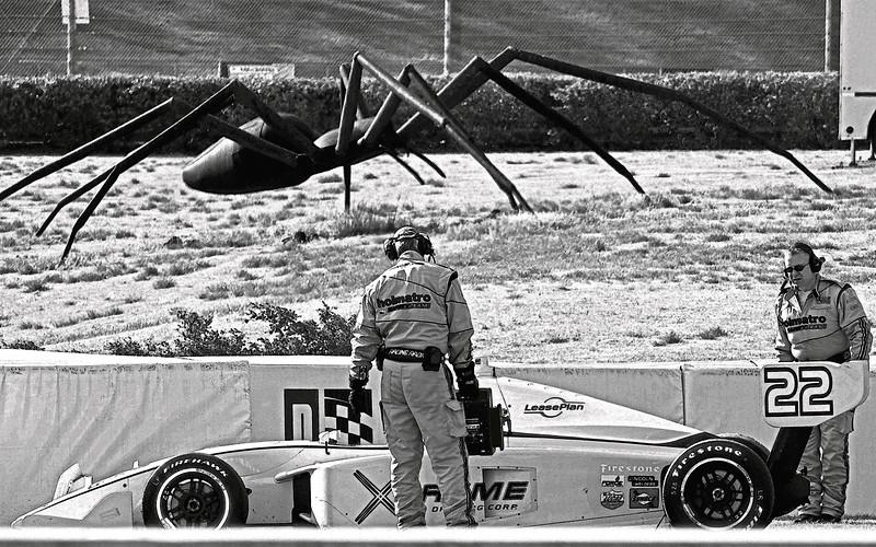 A Bill Secunda 35 foot Spider Threatens IndyCar Drivers at Barber Motorsports Park, Alabama