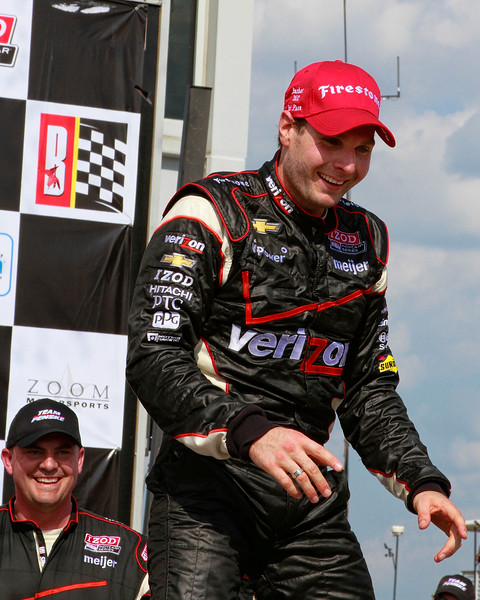IndyCar's Will Power Leaps from his No. 12 Verizon car in Victory Lane Barber