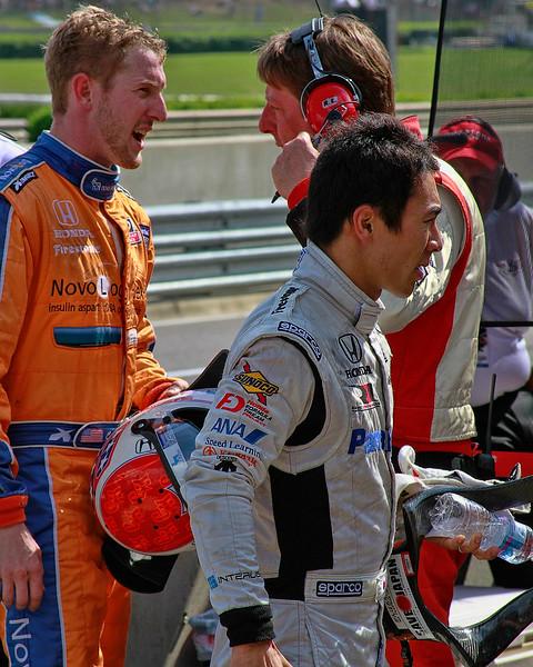 Takumo Sato Michael Young and Charlie Kimball DNF Barber Motorsports Park