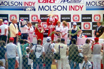 1st: No.3 Bobby Rahal. 2nd: No.4 Danny Sullivan. 3rd: No.5 Mario Andretti.