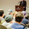 Economist Dr. James K. Galbraith gave a talk at Fitchburg State University on the impact of free trade and globalization on American workers and post-industrial cities such as Fitchburg on Tuesday evening. SENTINEL & ENTERPRISE / Ashley Green