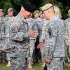 (Fort Benning, Ga) Col. John W. King II relinguishes command to Col. Kyle E. Lear during the Ranger Training Brigade Change of Command Ceremony, Tuesday, June 26, 2012 at Hurley Hill, Fort Benning, Georgia. The reviewing officer was MG McMaster. (Photos by:Taffy Steinborn Keller/MCOE PAO Photographer