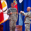 (Fort Benning, Ga) Command Sgt. Maj. Steven W. McClaflin relinquishes command of the United States Army Infantry School to Command Sgt. Maj. Timothy A. Guden during the Change of Responsibility Ceremony, Friday, August 10, 2012 at Fort Benning, Georgia. The reviewing officer was the 53rd Commandant of the Infantry School, COL. David B. Haight. (Photo by: Patrick A. Albright/MCOE PAO Photographer)