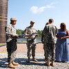 (FORT BENNING, Ga) CSM Curtis H. Arnold, Jr. assumes responsibility of the Airborne and Ranger Training Brigade from CSM Dana C. Cooper, May 20, 2014 at Victory Pond.  (Photo by Patrick A. Albright / MCoE PAO Photographer)
