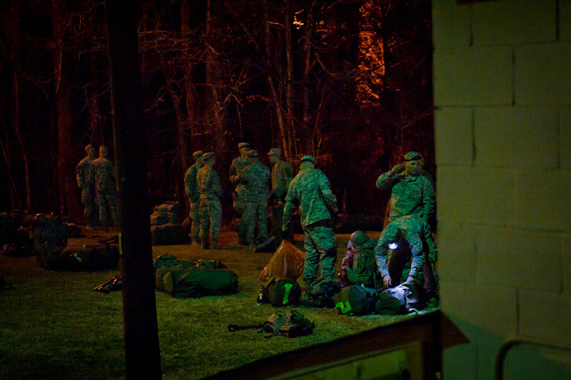 19 FEB 2011 - Ranger Training Class 4-11 performs initial layout upon arriving at Mountain Phase.  Camp Merrill, Dahlonega, GA.  Photo by John D. Helms - john.d.helms@us.army.mil