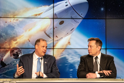Elon Musk and Jim Bridenstine speak following the Inflight Abort Test