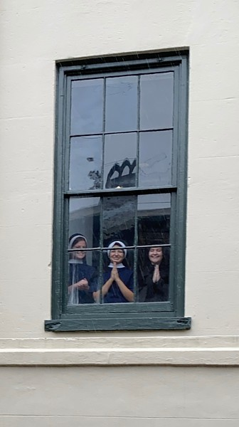Convent school...we think they were getting ready for Halloween!