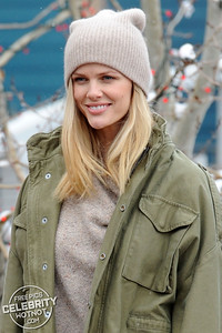 Swimsuit model Brooklyn Decker wears a short skirt during the snowy Sundance Film Festival!