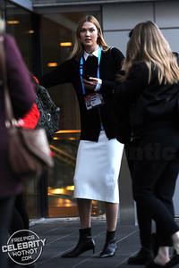 Karlie Kloss Stylish In Smart Cardigan, White Shirt, and Matching Dress, Canada