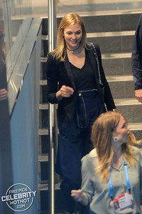 Karlie Kloss Fashions 70s High-Waisted Denim Flares in Vancouver, Canada