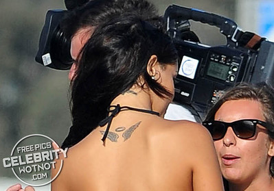Nabilla Benattia Vergara In Black Bikini Filming Hollywood Girls With Shuana Sand