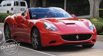 Paris Hilton Listening To Tunes In Her Ferrari California, LA