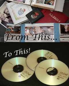 Convert photos to digital images.  Most images don't have to be removed from the album or frame to convert. Pricing - Set-up fee - $25.00, $0.10 per print converted up to 500 prints.  $0.05 per print 500+.  Includes original DVD.  Does not include tax or extra copies of DVD.