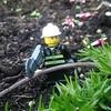 Fireman collecting firewood