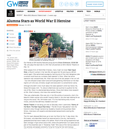 Link- http://www.gwalumni.org/2014/02/alumna-stars-as-world-war-ii-heroine/#.VPT6yUvvHIF